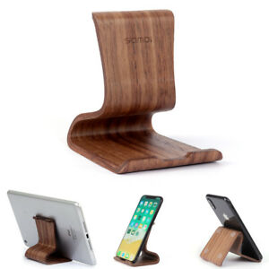 SAMDI Solid Walnut Wooden Cell Phone Stand for iPhone Mount Desk Tablet Holder