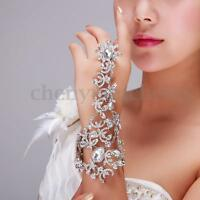 Bridal Crystal Rhinestone Slave Hand Harness Finger Ring Link Chain Bracelet
