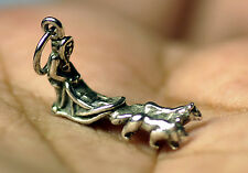 New Alaska Alaskan racing sled dogs race 925 Sterling Silver Jewelry charm Husky