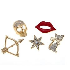 Jewelry Skull, Cat, Cupids Bow, Lips, Star Diane Gilman Gold 5 Piece Brooch Set
