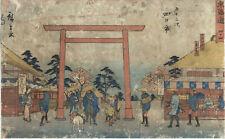 UW»Estampe japonaise originale - Hiroshige 1850 Tokaido Reisho - Yokkaichi - 16