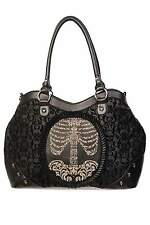 Banned Gothic Victorian Flocked Cameo Skeleton Skull Ribcage Ladies Handbag Goth