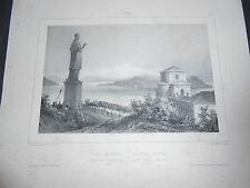 1840 LITOGRAFIA SAN CARLO BORROMEO ARONA LAGO MAGGIORE RAFFINATISSIMA