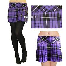 """Ladies Short Box Pleat Pleated Skirts Micro Mini 14"""" Inch Tartan Skirt Size 8-18"""