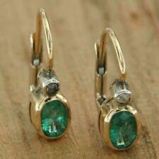 2.00 Ct Oval Cut Green Emerald Leverback Earrings In 14K Yellow Gold Finish