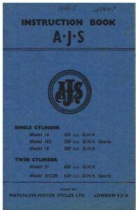 AJS MODEL 16 16S 18 31 31CSR 1963-65 OWNERS INSTRUCTION & MAINTENANCE HANDBOOK