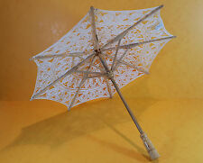 """Vintage style antique crème dentelle miniature de poupée ours en bois parasol 12"""""""