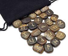 Tigers Eye Elder Futhark Rune Set Hand Carved Gemstone Runic