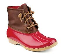 SPERRY TOP-SIDER BOOTS SIZE 10 SALTWATER DUCKBOOT J.CREW RAINBOOTS RED