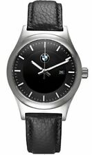 BMW Genuine Mens Wrist Watch Classic Black Leather Strap Waterproof 80262365447