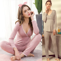Nursing Breastfeeding Sleepwear Homewear Pajama Set V-neck Modal Maternity M/L