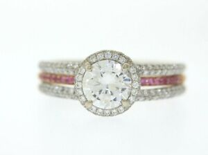 SIMON G 18k White & Rose Gold .88ct White & Pink Diamond 6.5mm Semi-Mount Ring