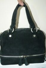 Armani Jeans Black Suede Bag Handbag Make Up Beauty Bag
