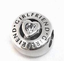 Authentic Pandora Girlfriend Charm W/ Pandora HINGED BOX #792145CZ