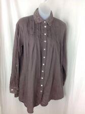 SACRED THREADS Button Front Cotton Long Sleeve Tunic Shirt One Size Brown Lace