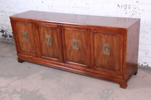 John Widdicomb Mid-Century Hollywood Regency Chinoiserie Walnut Credenza