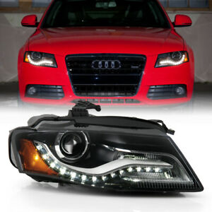 For 09-10 Audi A4 Passenger Side D3S Xenon HID Projector Headlight LED Strip DRL