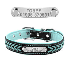 Personalised Dog Collar Custom Soft Padded Pet Name ID Tag Collars Engraved Free