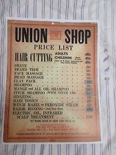 Vintage 1940's Union Barbershop Price List 60 Cent Cut