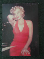 80s Postcard - Marilyn Monroe 1954 colour in red outside arm raised