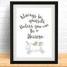Quote Poster Print A4 Typography Decor gift rainbow decor Unicorn Pretty gift