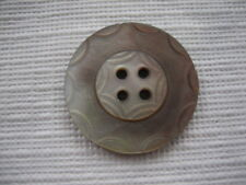"""Vintage Medium 1"""" Mother Of Pearl MOP Shell Carved Sew Thru Button - P187"""