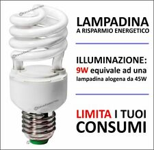 10pz LAMPADINA A RISPARMIO ENERGETICO E14 9W 405lm LUCE FREDDA//CALDA