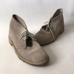 Vintage Clarke's Men's Suede Desert Boots Shoes Light Beige MOD SKA UK 10 EU 44