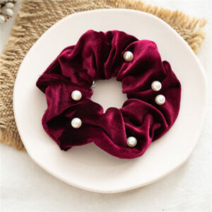 Womens Sweet Velvet Scrunchies With Pearls Elastic Hair Bands Ponytail Accessory