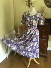 Shimmer  Floral Cotton Victorian Vintage Dress Size 14 Laura Ashley