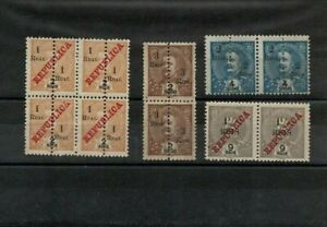 Port. INDIA D. Carlos 4 blocks of 4 and 2 with and without overprint, surcharge