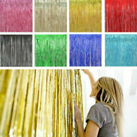 Metallic Foil Fringe Curtains Backdrop Party Decor Photo Booth Support 1*3M /MY