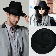 Vintage Womens Mens Ribbon Wide Brim Faux Wool Felt Hat,Floppy Bowler Fedora Cap