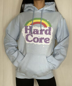 "Gamer Graphic Hoodie ""Hard Core"" Gildan Brand Blue Size Small"