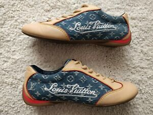 Louis Vuitton Denim Monogram Womens Leather Sneakers Trainers Shoes Blue Beige