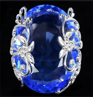 Turkish Handmade 925 Silver Sapphire Ring Women Wedding Jewelry Gift Size 6-10