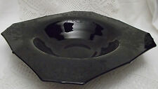 Vintage Large Black Amethyst Glass Elegant Floral Etched Bowl 11""