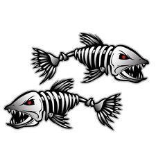 2pcs Fish Skeleton Decal Sticker Fishing Boat Canoe Kayak Walls Guitars Graphics