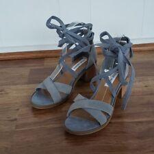 Steve Madden Women's Size 7.5 Light Blue Suede Ankle Wrap Chunky Heel Sandals