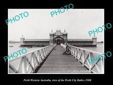 OLD LARGE HISTORIC PHOTO PERTH WESTERN AUSTRALIA, THE CITY BATHS PAVILLION c1900