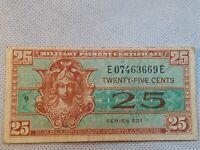 Vintage Military Payment Certificate Series 521 Twenty Five Cents Nice Artwork