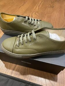 """$449 Mens Valentino By Mario """"Bill Dollar"""" Leather Sneakers Olive Green US 11"""