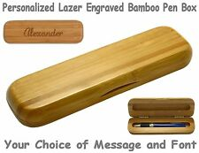 Rounded Custom Engraved Bamboo Pen Box #B320