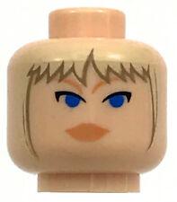 LEGO NEW LIGHT FLESH MINIFIGURE HEAD FEMALE GIRL WITH BLUE EYES HAIR PIECE