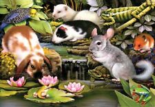 Jigsaw Puzzle Animal Wild Pool Side Pets Mice Rabbits 100 pieces NEW made in USA