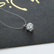 Floating Illusion Clavicle Zircon Pendant Chain Necklace Invisible Line ZXX