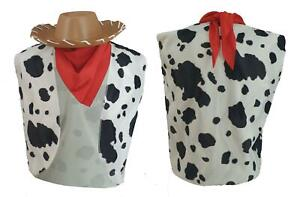Adults Woody Cow Print Waistcoat Bandana/Neckerchief Foam Cowboy Hat Fancy Dress