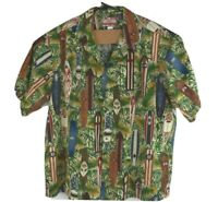 Vintage RJC Hawaiian Camp Shirt Mens Made In Hawaii USA Surfboards Palms Sz 4XL