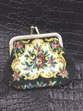 Vtg Petit Point Change Purse Coin Pouch Hand Made Antique Needlepoint Bag H