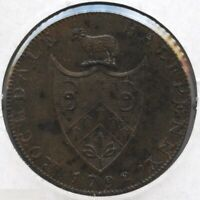 Rochdale 1792 Coin Halfpenny 1/2 Penny - BC793